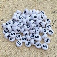 Única Letra S Contas 3600 PCS 4*7 MM Flat Round Coin Forma Redonda de Plástico Alfabeto Inicial Jóias DIY pulseira Malha Espaçador Talão