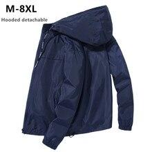 Jacket Men Plus Size 6XL 7XL 8XL Spring Autumn Thin Windbreaker Mens Hooded Bomb