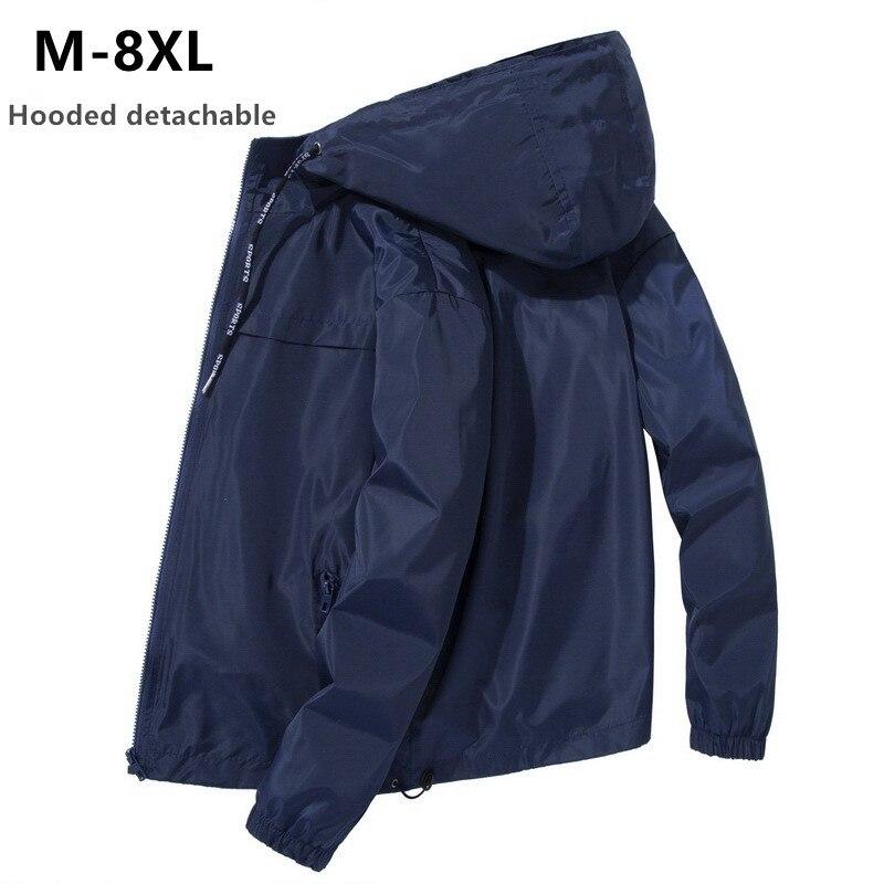 Jacket Men Plus Size 6XL 7XL 8XL Spring Autumn Thin Windbreaker Mens Hooded Bomber Coat Streetwear Boy Zipper Casual Sportswear
