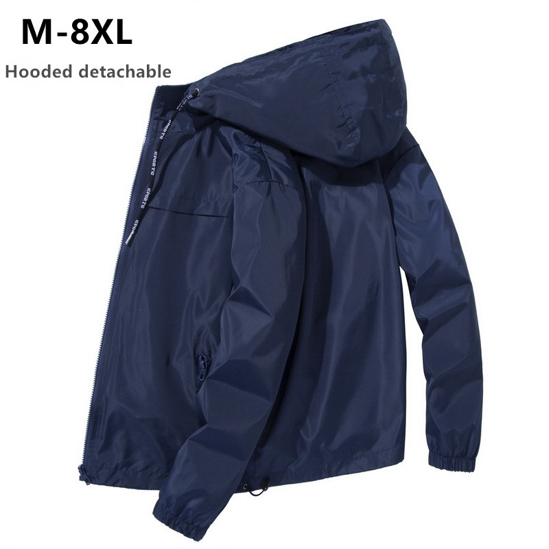 Jacket Men Plus Size <font><b>6XL</b></font> <font><b>7XL</b></font> <font><b>8XL</b></font> Spring Autumn Thin Windbreaker Mens Hooded Bomber Coat Streetwear Boy Zipper Casual Sportswear image