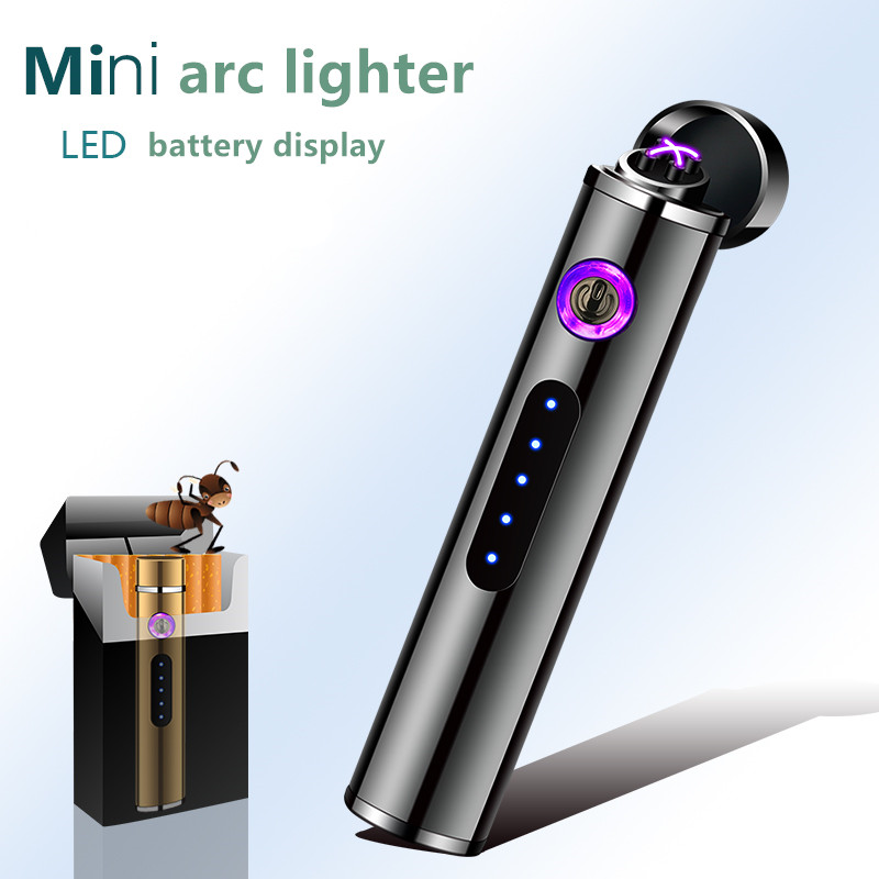 Mini New Double Arc Screem Display Fingerprint Lighters Windproof  USB Recharge Lighter Small Metal  Electric Lighter