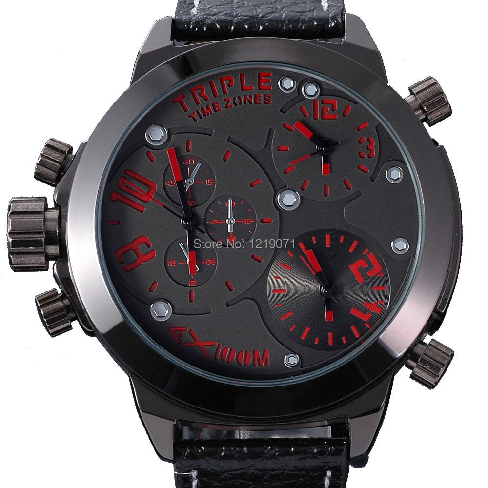 fashion zeiger mens watch multi timezone red dial russian. Black Bedroom Furniture Sets. Home Design Ideas