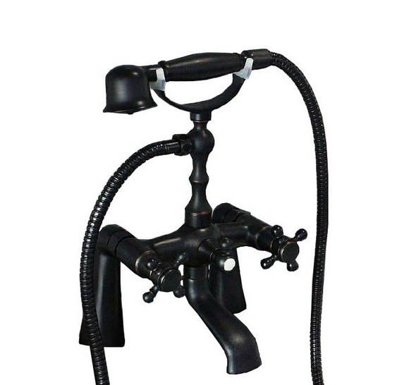 Black Oil Rubbed Brass Deck Mount Bathroom Handheld Shower Faucet Set Tub Mixer Tap Dual Cross Handle Ctf026