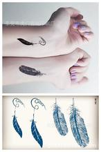 Body Art Harajuku Waterproof Temporary Tattoos For Men Women Classics 3d Feather Design Flash Tattoo Sticker HC1009