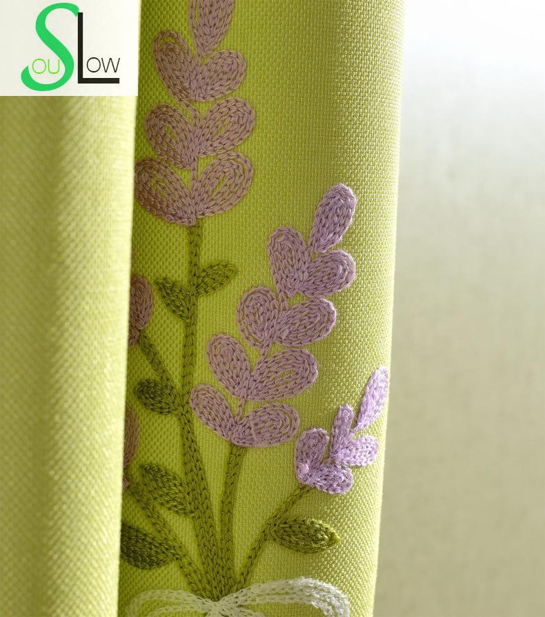 Slow Soul Purple Blue Green Pink Provence Dandelion Garden Europe Embroidered Curtains Tulle For Living Room Kitchen Bedroom