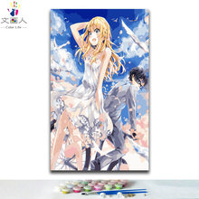 Coloring paints by numbers cartoon Anime figures boy and girl pictures paintings colors by numbers with kits on canvas diy(China)