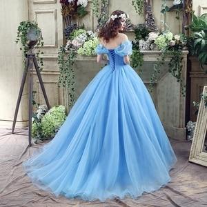 Image 2 - 100% תמונות אמיתיות במלאי כחול פרפר Cospaly סינדרלה שמלת כדור כותנות טול Quinceanera שמלות פרעו Dress15 שנים