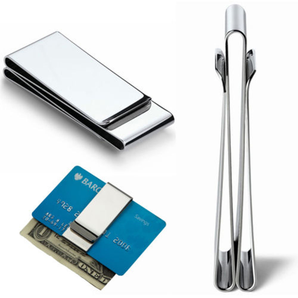 NEW Money Clip Stainless Steel//Silver Metal Pocket Holder Wallet Credit Card