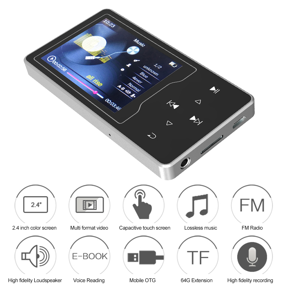 "2.4/"" LCD Portable Wireless BT MP3 MP4 Media Music Player Stereo Mini FM Radio TF"