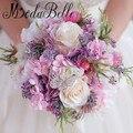 Rosa Púrpura Ramo de Novia Broche de Cristal de La Boda Ramos de Flores Para Novias Artificiales Ramos de Novia Dama de Honor Buque De Casamento