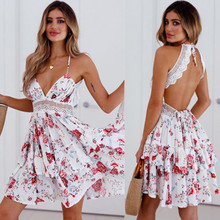Boho Womens Holiday V-neck Dress Sexy Lace Off Shoulder Summer Floral Beach Mini Dresses Sundress