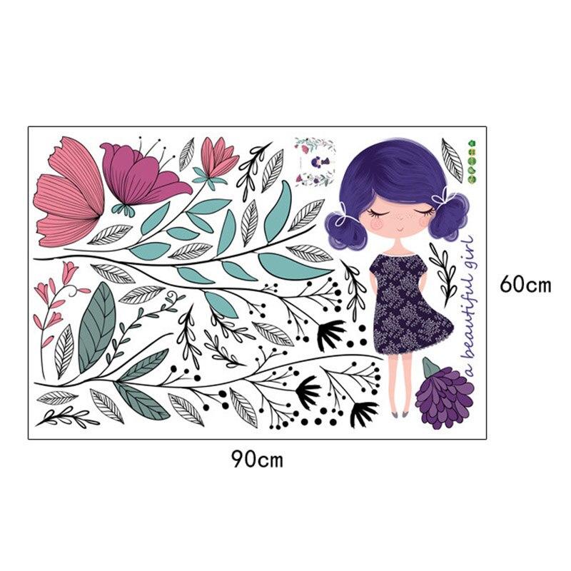 Ручная роспись цветы девушка стены Стикеры Водонепроницаемый наклейки Home Decor для детей Спальня ТВ фон Лидер продаж