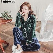 Фланелевые пижамы, толстые теплые зимние женские пижамные комплекты из двух частей мультфильм женская пижама Домашняя одежда женский пижамный комплект