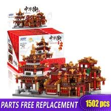 XingBao 01102 Building Blocks ZhongHua Street Teahouse/College/Library/Cloth House/Wangjiang Tower 01101 Brock blocks