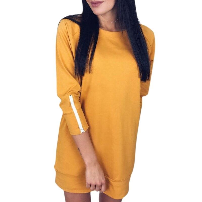 1 Pz Awomen Autunno Maglie E Maglioni Della Chiusura Lampo Manica Lunga Pullover Felpe Vestito Di Colore Solido Nuovo Vestito W15