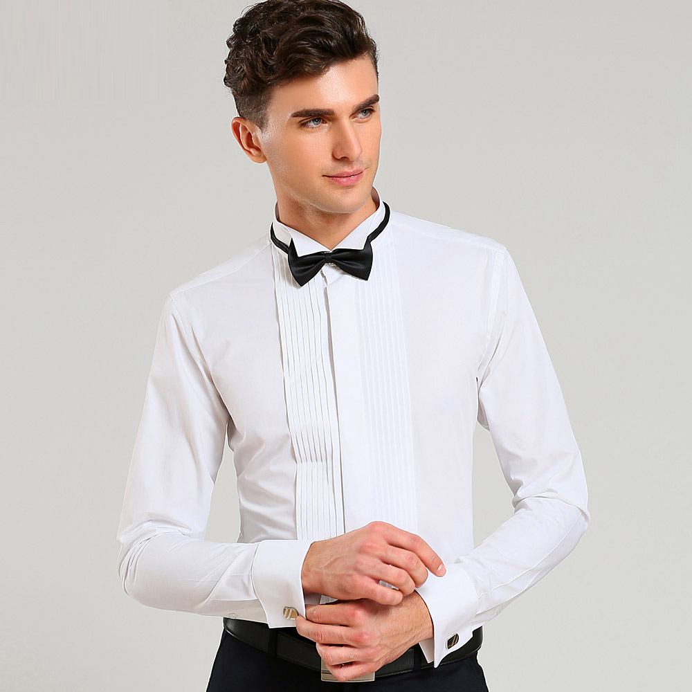 2018 Mens Dress Shirts Solid Wedding Party Long Sleeve Formal