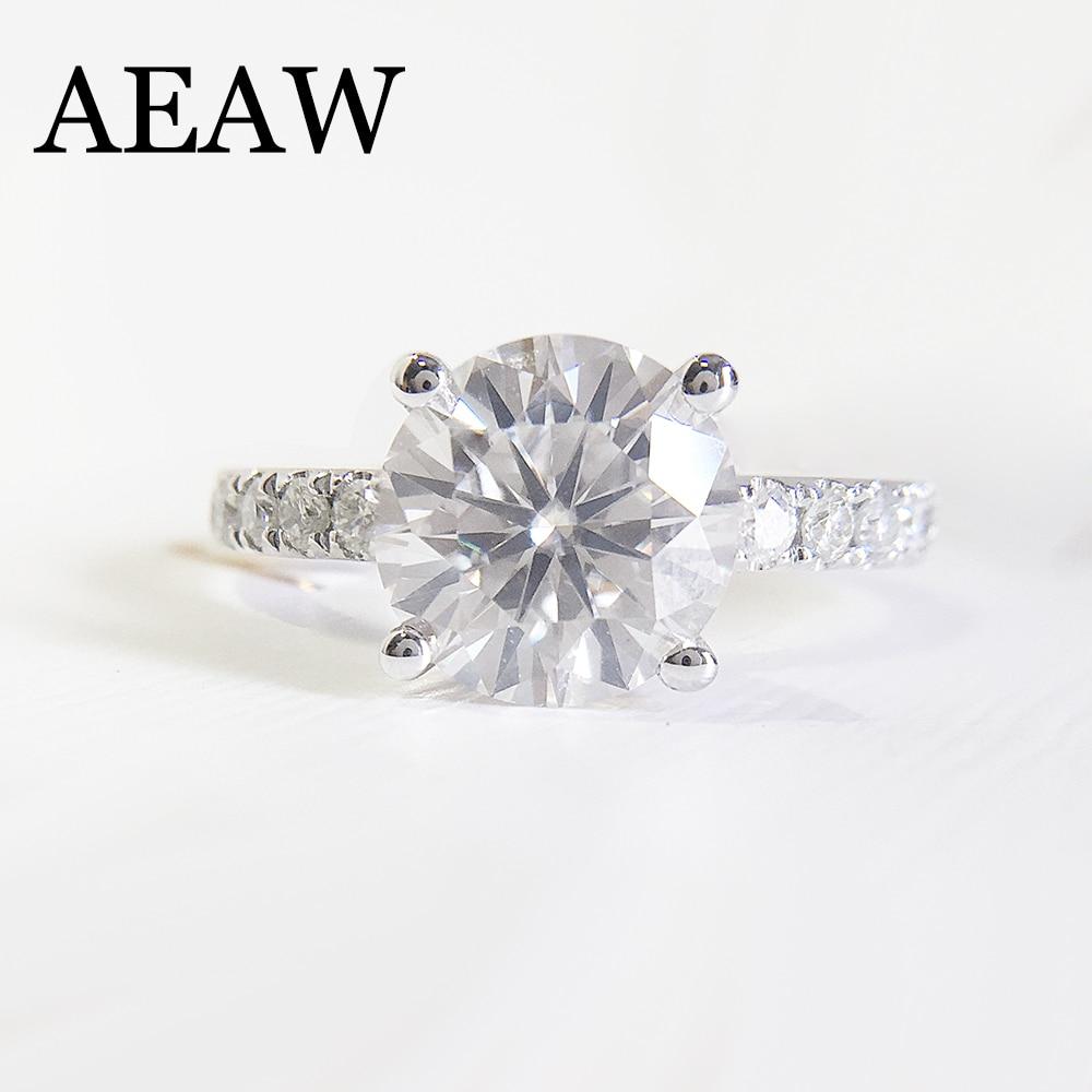 2. ct 8,0 мм бриллиантовая огранка Муассанит Обручение кольцо настройки с боковыми каменное сердце и Стрелка Cut Потрясающие Тесты положительны