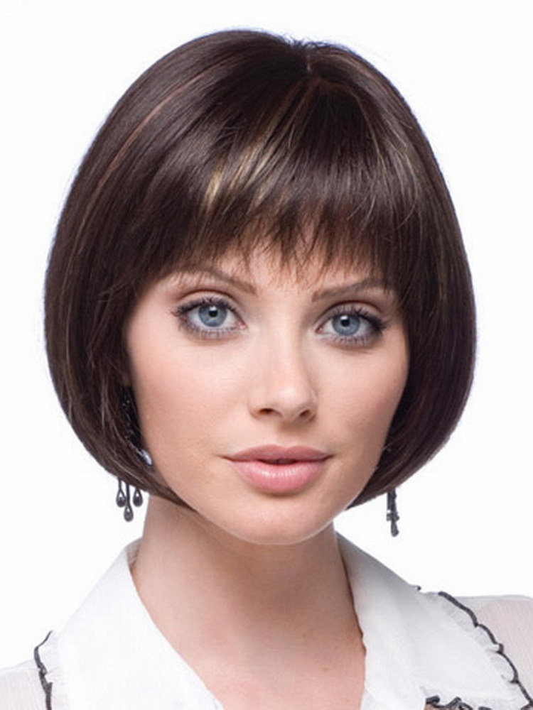 8inch Highlights Brown Modern Short Haircuts Cheap Bob Wigs For