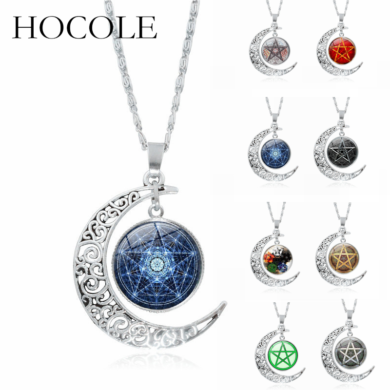 Necklaces & Pendants Hocole Moon Glass Star Cabochon Pendant Necklace Silver Chain Big Choker Necklace For Women Statement Jewelry Collier Femme Refreshing And Enriching The Saliva Jewelry & Accessories