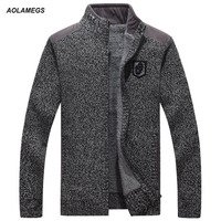 Aolamegs Men Sweater Solid Plus Fleece Cardigan Men's Fashion Casual Thick Stand Collar Sweaters Male Knitting Winter Outerwear