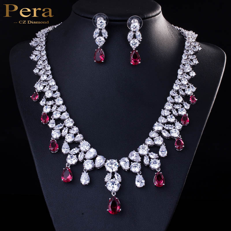 Wedding Earrings White Gold: Pera Luxury Bridal Wedding Party Jewelry White Gold Color