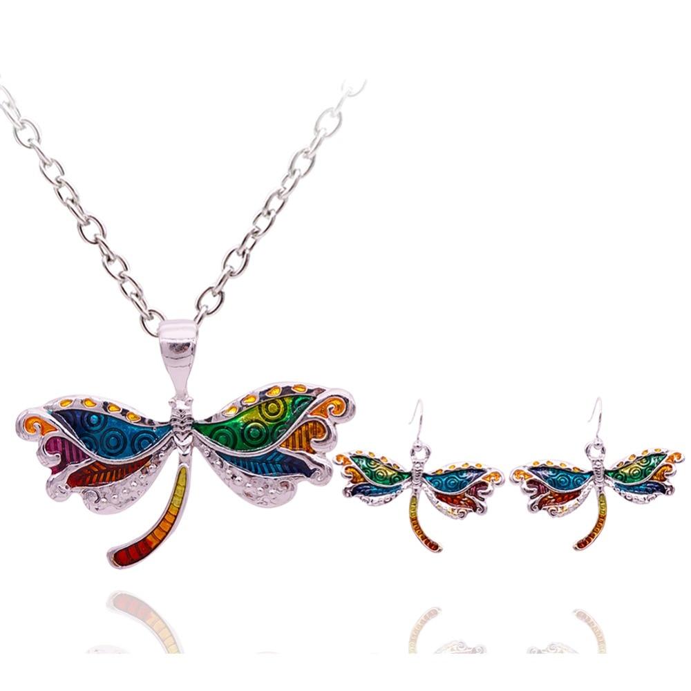 Nuevo juego de pendientes de collar de libélula de mujer de moda de ... 49e1680a25be