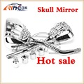 2015  hot product 8mm&10mm Universal Motorcycle Mirrors Rearview Mirror Skull Claw Chrome side mirror