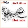 2015 producto caliente 8mm y 10mm Universal Espejos de La Motocicleta Espejo Retrovisor Con la Garra Del Cráneo del espejo lateral del Cromo
