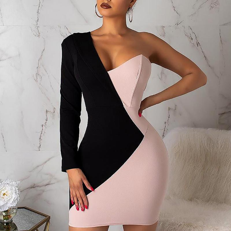 One Shoulder Two Tone Insert <font><b>Bodycon</b></font> <font><b>Dress</b></font> <font><b>Sexy</b></font> Office Look Women <font><b>Dress</b></font> vestidos verano 2019 image