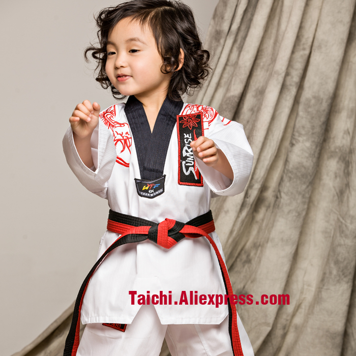 TKD Tae Kwon Do Children Taekwondo Uinform For Poomsae & Training,WTF Uniform,110-155cm White Color  Embroidery