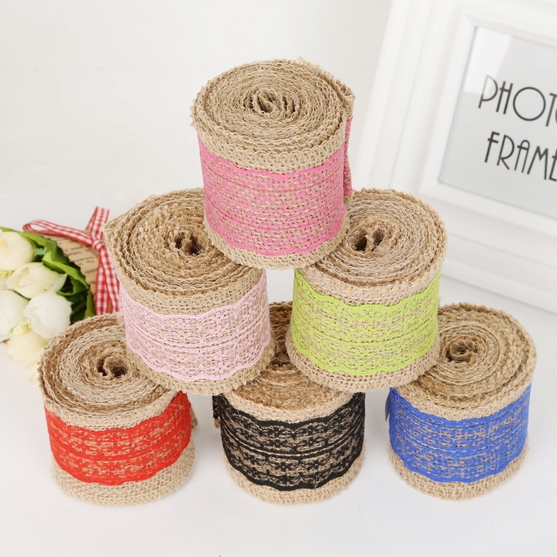 Hot 6cm×2m Wedding Party Rustic Roll Decor Lace Burlap Garland Hessian Ribbon
