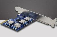 PCI E To USB Riser Card 1 To 4 Port USB3 0 Converter Adatper PCIe