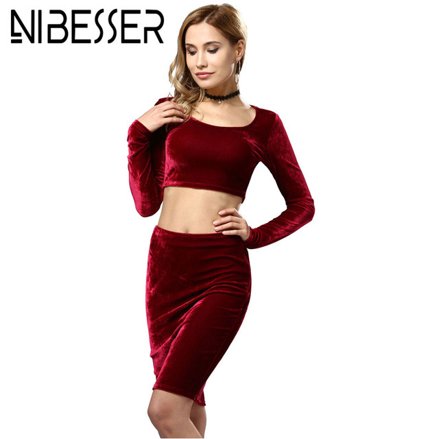 NIBESSER Clothing Set Women New Fashion Spring Long Sleeve Croped Top+Skirt  Sets Suits Velvet Two Piece Outfits Female Tracksuit 254ac8ab73