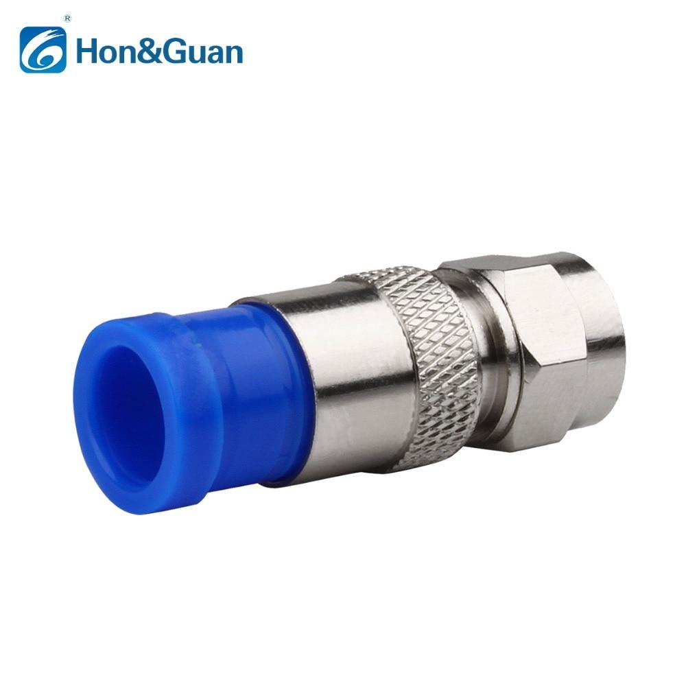 цена на 50pcs /lot connector coax coaxial compression fitting Compression Coax F Connector RG6