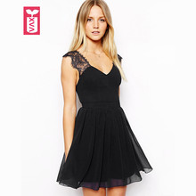 Drop Ship Perfect Backless 2017 OL Girls Black V-neck Black Low Cut Dress Womens Fashion Laciness Tunic Clothing Summer