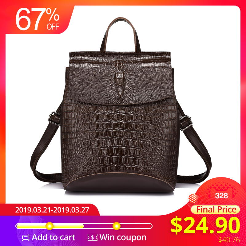 Luggage & Bags 2019 New Style Realer Backpack Women Small Backpacks For Girls Teenagers Split Leather With Crocodile Prints Ladies Shoulder Bags Travel