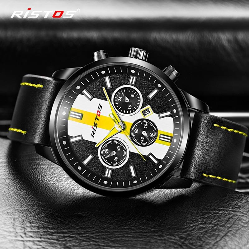622564c241fa RISTOS marca deportes cuarzo Relojes de Cuero Casual Reloj Masculino  extrema Deporte Militar Reloj de moda 93018 en Relojes deportivos de Relojes  en ...