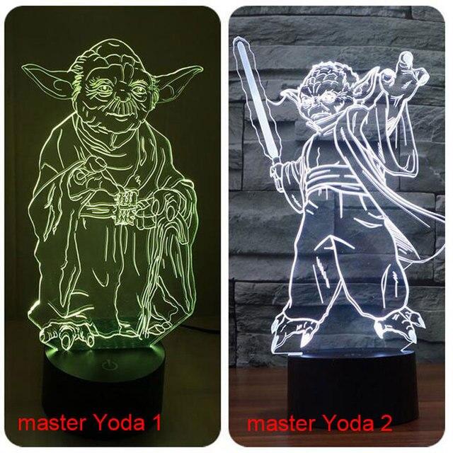 Star Wars 3D Bulbing Licht LED Master Yoda Jedi Leider verlichting ...