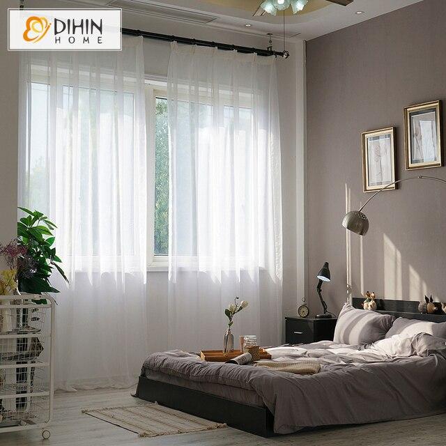 DIHIN CASA 1 PZ Tenda Moderna Finestra Pura Solido Bianco Trattamenti di Finestr