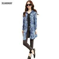 2017 Summer Long Style Denim Shirt Fashion Camouflage Patterns Cotton Shirt Dress High Quality Denim Casual