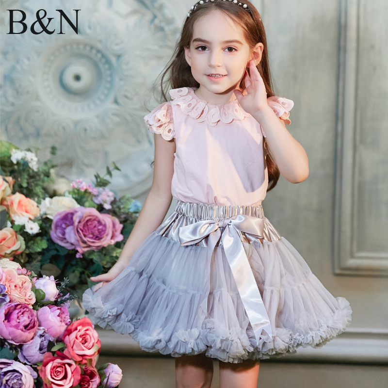 Buenos Ninos Girls Fluffy 2-18 Years Chiffon Pettiskirt Solid Colors tutu skirts girl Dance Skirt Christmas Tulle Petticoat buenos ninos серый номер l