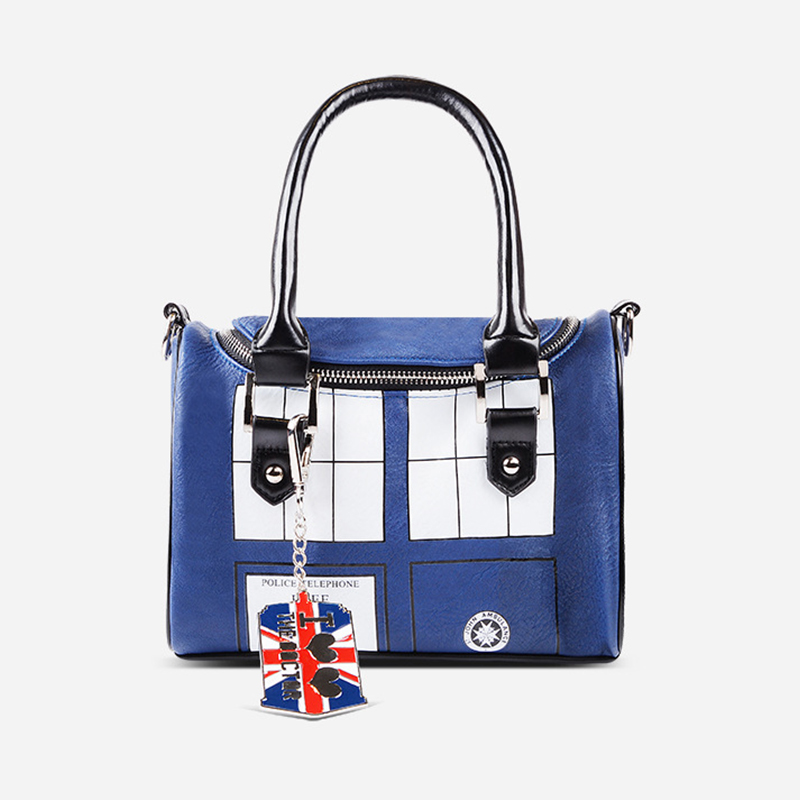 Doctor Who Anime PU Printed Anime Dr Who Tardis Buckle Slouch Woman Handbag Mochila Feminina Public Call Police Box Backpack футболка рингер printio доктор кто doctor who