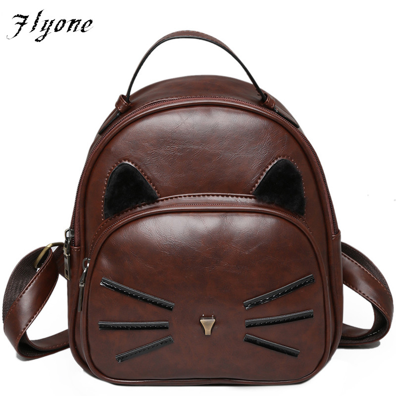 Flyone PU Leather Backpack Women Backpacks Women Bags For Teenage Girls leather women bag School Bags Lady's Small Cat Backpack children school bag minecraft cartoon backpack pupils printing school bags hot game backpacks for boys and girls mochila escolar