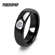 Fashion Men Women Black White Colorful Ring Ceramic Ring For Women With Big Crystal Wedding Band Ring Width 6mm Size 6-9 Gift
