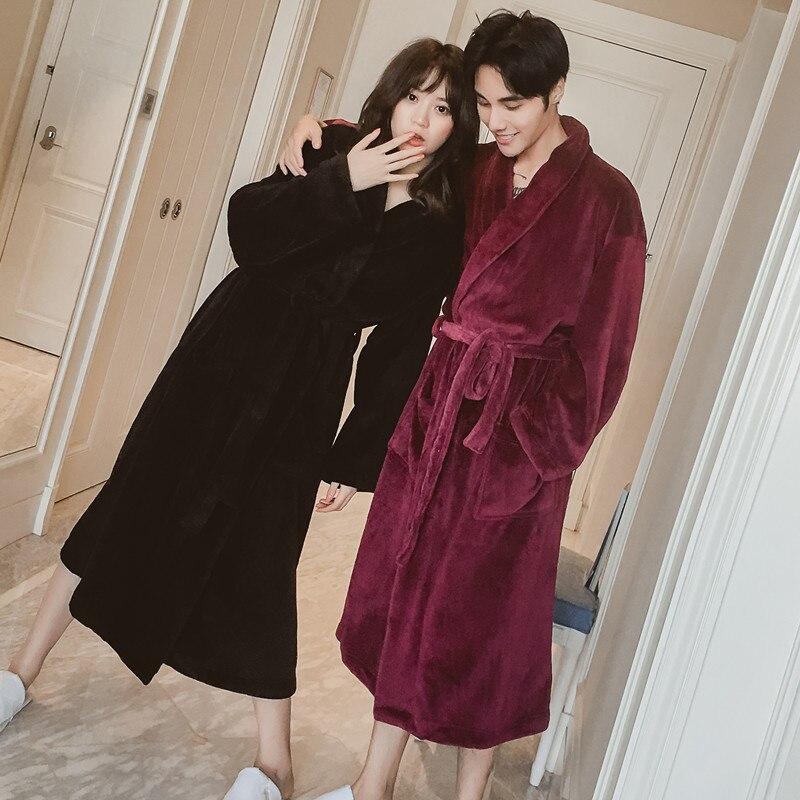 On Sale Extra Long Soft as Silk Flannel Bathrobe Winter Warm Bath ...