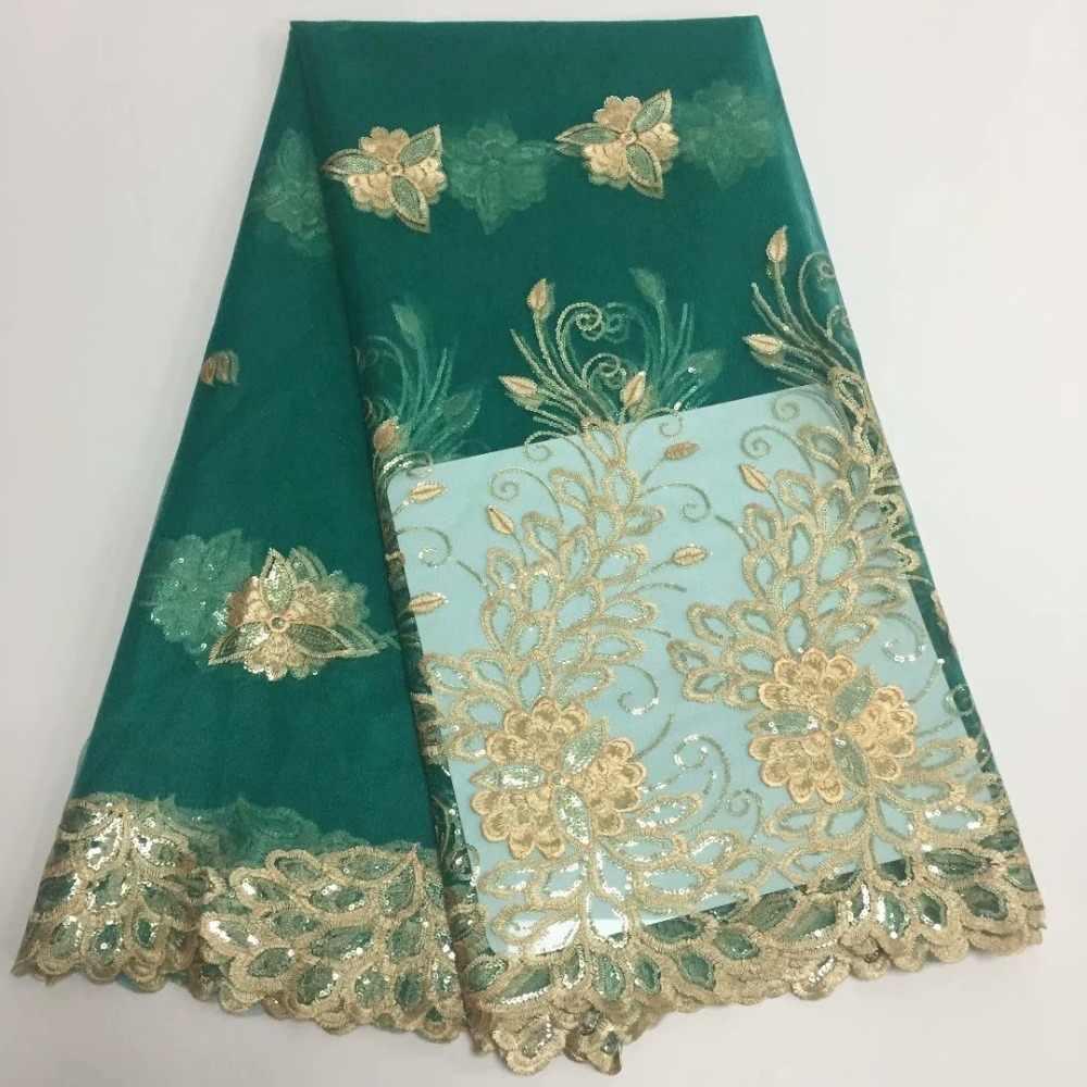 (5 10yards/lot) 2018 Nova Alta qualidade moda verde esmeralda tule Africano laço Francês tecido de renda líquida com Lantejoulas para vestido de festa