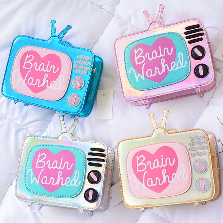 2018 new fun bag laser TV shoulder bag personality design cute girl bag mini mobile wallet
