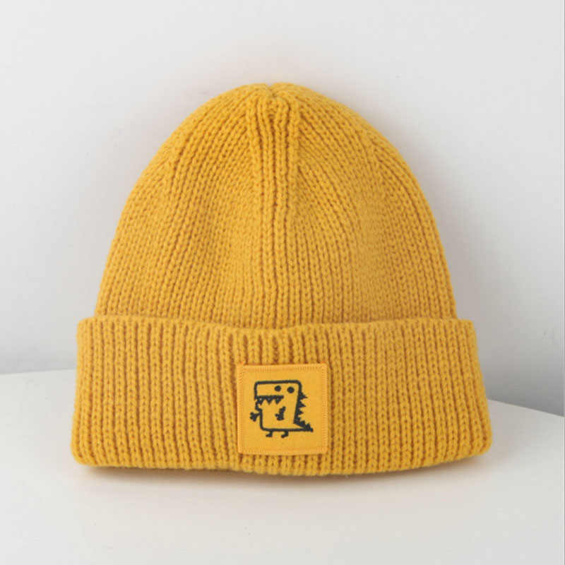 893897dc1 New child Winter boys girls 2-7 years old Solid color cap Keep warm  dinosaur knit hat outdoor Fashion MZ20-2
