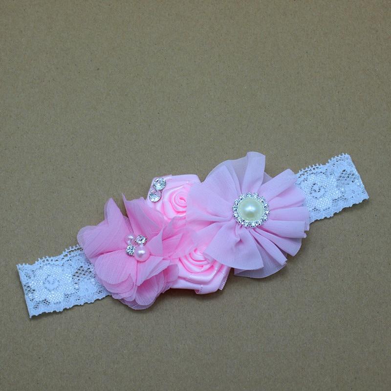 Diadema para bebé de encaje Flores con perlas y pedrería Niñas - Accesorios para la ropa - foto 4