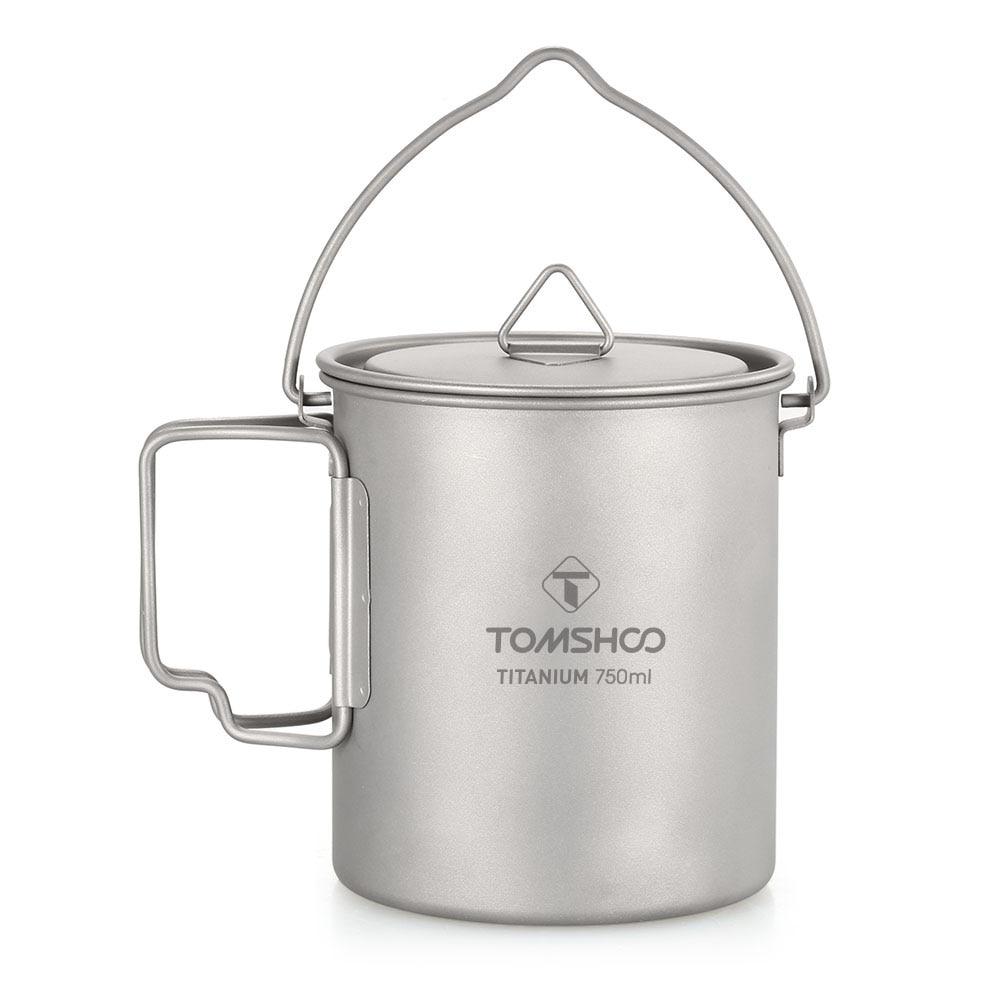 TOMSHOO 750ml Titanium Pot Titanium Water Mug Cup with Lid and Foldable Handle Outdoor Camping Pot Cooking Pots Picnic Hang Pot lid